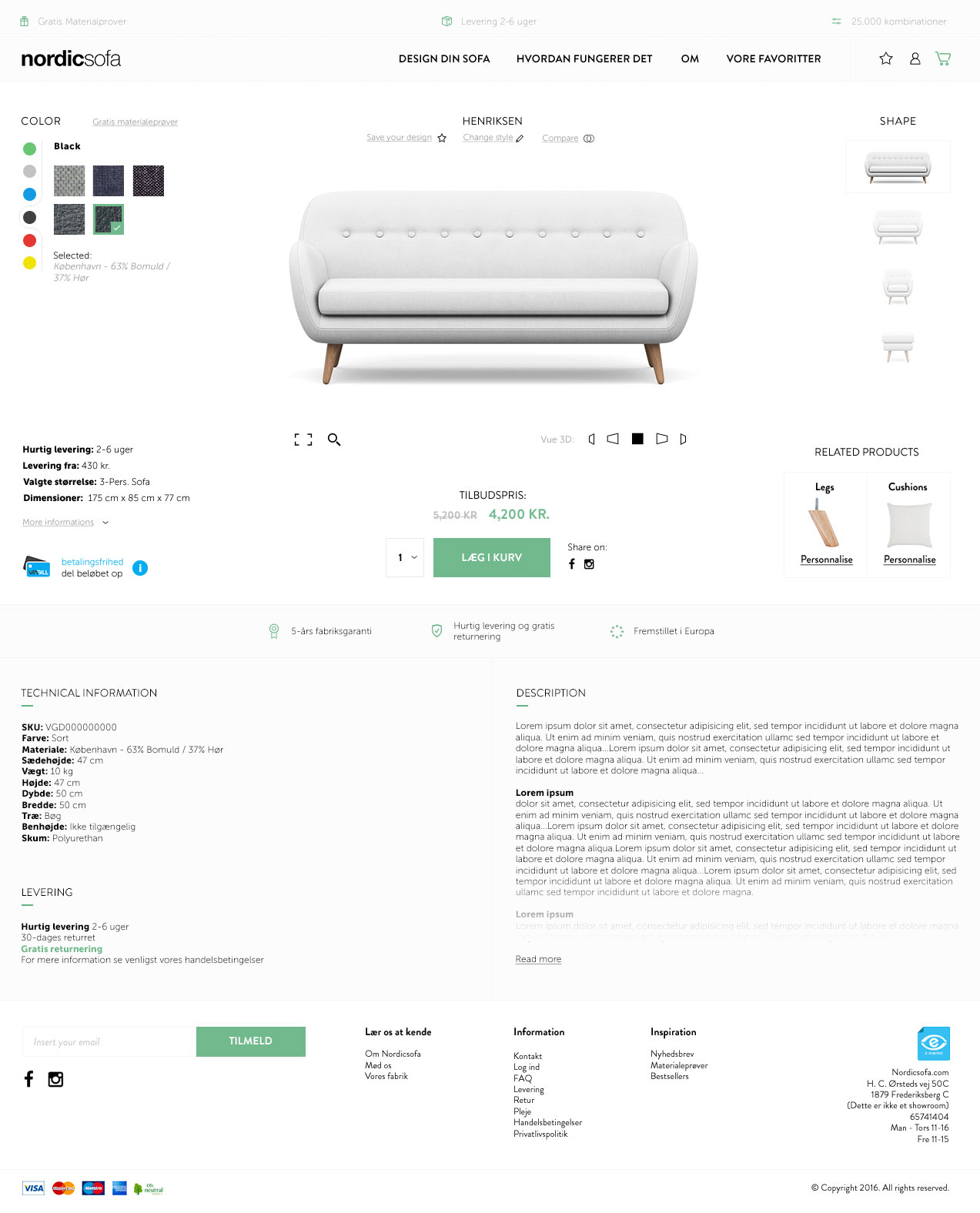 Webdesign nordicsofa Product page, graphic design with ux